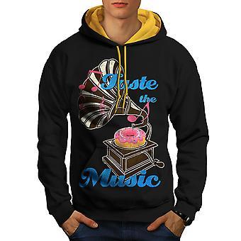 Taste Funny Donut Music Men Black (Gold Hood)Contrast Hoodie | Wellcoda