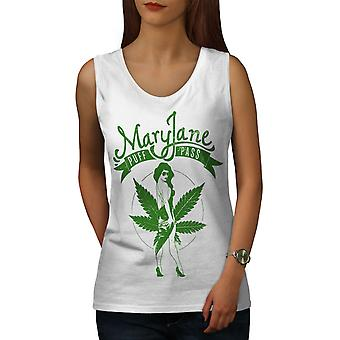 Weed Puff Pass Mary Women WhiteTank Top | Wellcoda