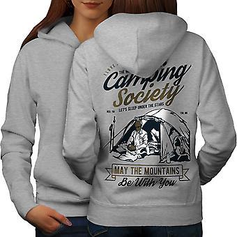Camping sociedad mujeres GreyHoodie respaldo | Wellcoda