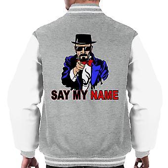 Breken van slecht zeg mijn naam Heisenberg Uncle Sam mannen's Varsity Jacket