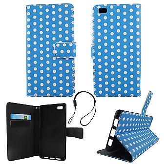 Etui téléphone portable mobile Huawei P8 Lite bleu à pois blancs