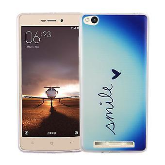 Cas de téléphone portable pour romaric Redmi 3 housse case sac de protection motif slim silicone TPU lettrage sourire Blau