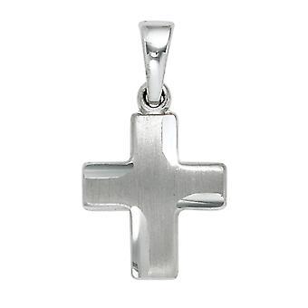 小十字架吊坠 925 纯银铑交叉部分磨砂