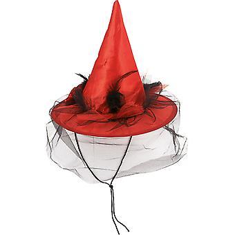 Plumes de voile de sorcière chapeau rouge cordon accessoire chapeau Carnaval Halloween sorcière