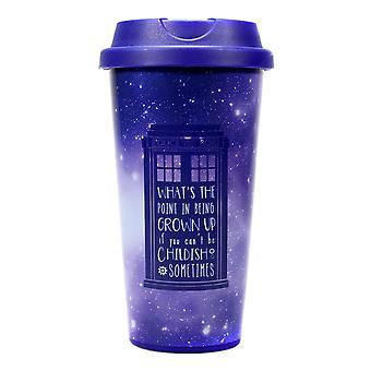Doctor Who Travel Mug Galaxy  bedruckt, aus Kunststoff, Fassungsvermögen ca. 450 ml.