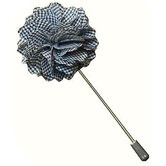 Bassin and Brown Small Gingham Check Lapel Pin - Grey/White