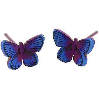 Ti2 Titanium Wald kleiner Schmetterling Ohrstecker - lila