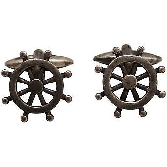 Zennor Boat Wheel Cufflinks - Rust Silver