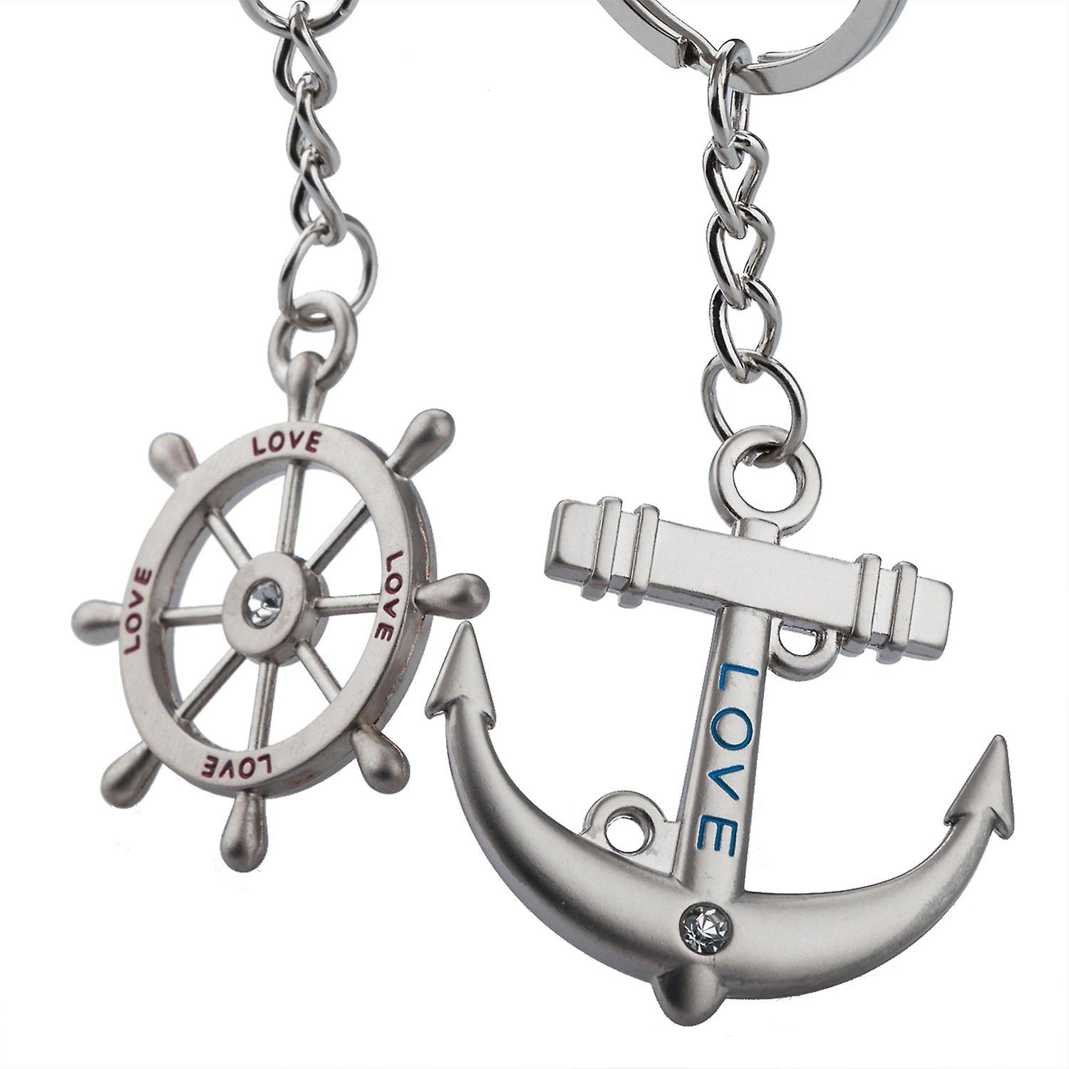 TRIXES Silver Cute Love Anchor and Rudder Keyrings Romantic Gift Marine Boat Chain