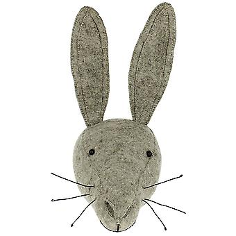 Fiona Walker England Grey Hare Felt Animal Head, Wall Mounted