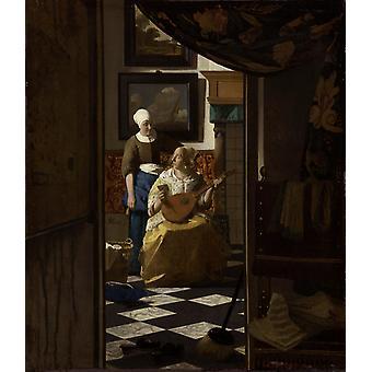 Der Liebesbrief kGU, Johannes Vermeer, 44x 38,5 cm