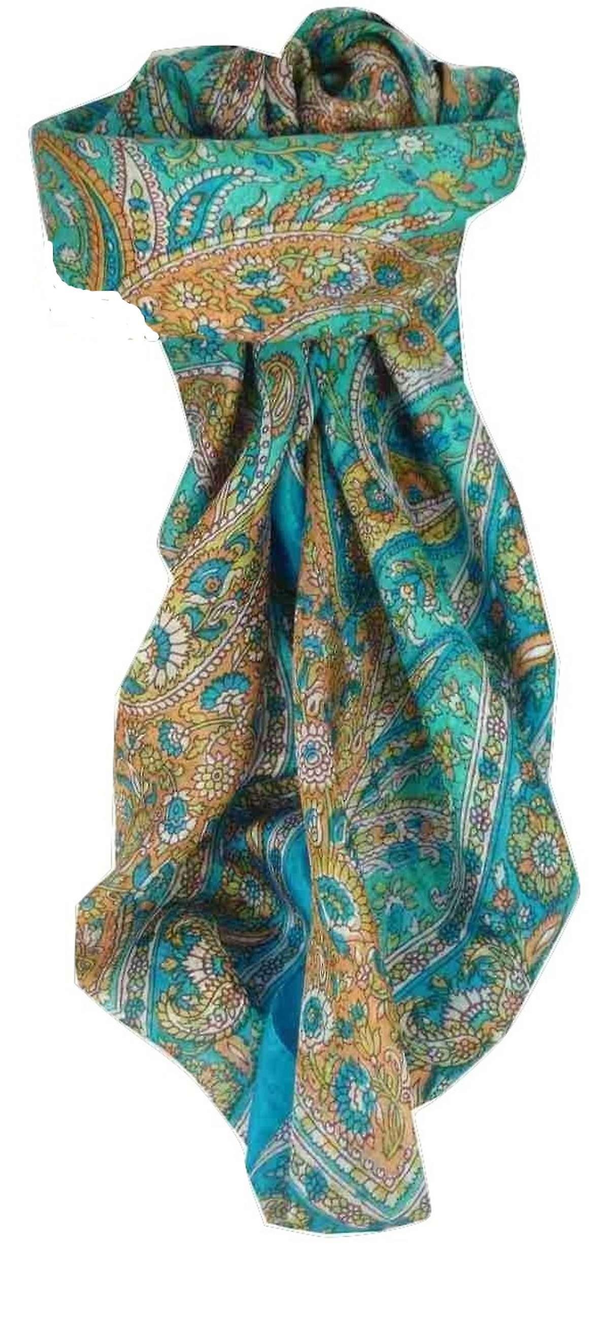 Mulberry Silk Traditional Square Scarf Vishwa Aquamarine by Pashmina & Silk