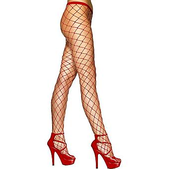Diamond Net Tights Red, One Size
