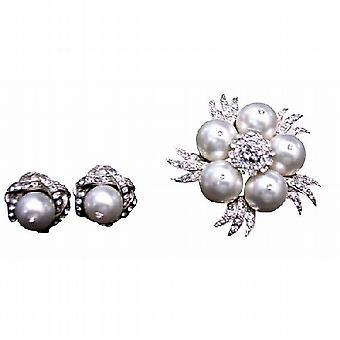Pure White Perlen Brosche mit Passende Ohrringe Diamante Schmuck