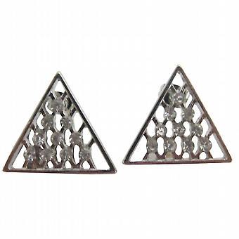 銀色の三角形のスタッド ピアス ラインス トーン キュービックジルコニアスタッド ピアス