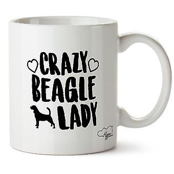 Hippowarehouse Crazy Beagle Lady Dog Printed Mug Cup Ceramic 10oz