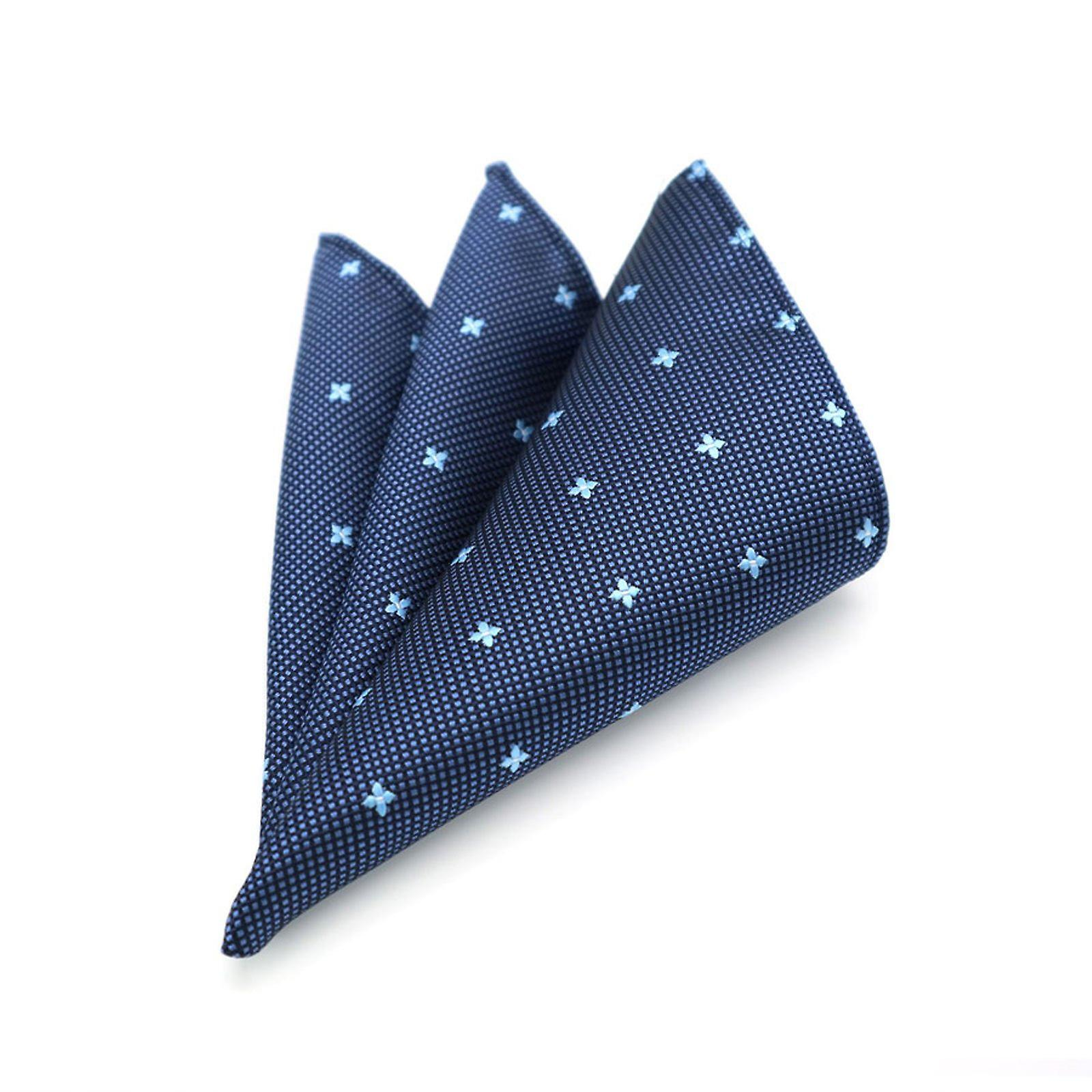 Dark & light blue ditsy pattern pocket square & tie set