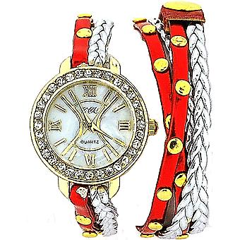 TOC Ladies Extra Long Red Metallic & Silver Plaited Stud Strap Watch SW1097