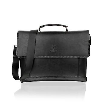 Classic Black Satchel Briefcase Flap Over, 14.5