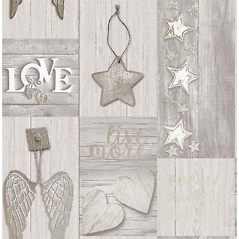 3D Wood Effect Wallpaper Collage Wings Hearts Grey Gold Metallic Wallpaper Crown