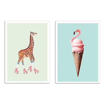 2 Plakaty artystyczne - Duo Pop animals - Jonas Loose