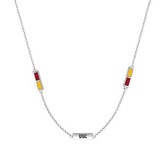 University Of Southern California Sterling Silver Engraved Triple Station Necklace In Red & Yellow