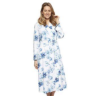Cyberjammies 1318 mulher Nora Rose Thea Blue Mix floral algodão longo robe