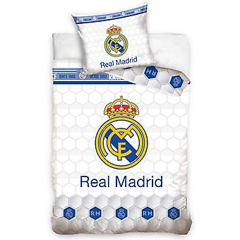 Real Madrid CF White Geo Single Duvet Cover Set