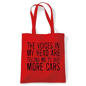 Voices In My Head Buy More Cars, Tote - Reusable Shopping Canvas Bag Gift