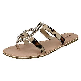 Ladies Savannah Flat Toepost Sandals With Diamante Detail