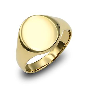 Jewelco London mænds solid 9ct gul guld oval signet ring