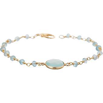 Bracelet Gemshine Sea Green Chalcedon Gemstones 925 Argent ou Doré