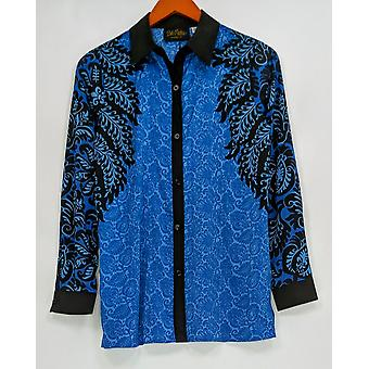 Bob Mackie Women's Top XXS Printed Long Sleeve Button Front Blue A283741