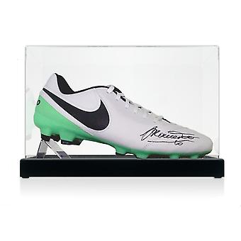 Francesco Totti Signed Tiempo Football Boot In Display Case