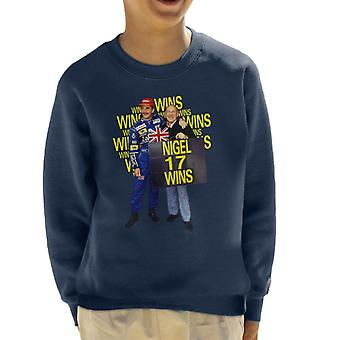 Motorsport Images Nigel Mansell With Stirling Moss At Silverstone 1991 Kid's Sweatshirt