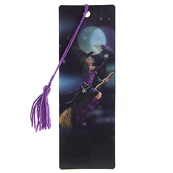 Witch on Broom 3D Bookmark by Lisa Parker