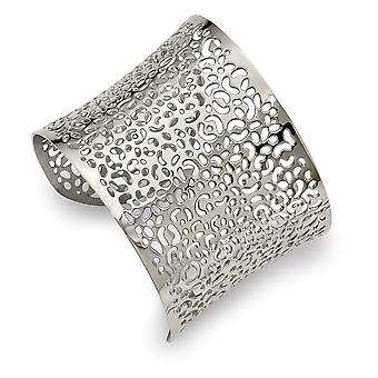 Aço inoxidável polido de 22mm corte cortado design cuff stackable pulseira pulseira joias para mulheres