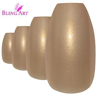 Faux ongles or art bling paillettes ballerine cercueil 24 faux long acrylique conseils