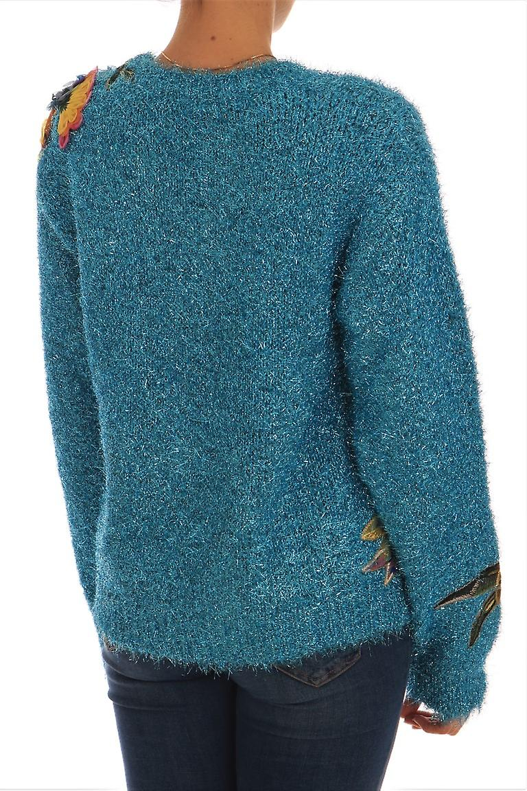 Blue Knitted Floral Applique Sweater