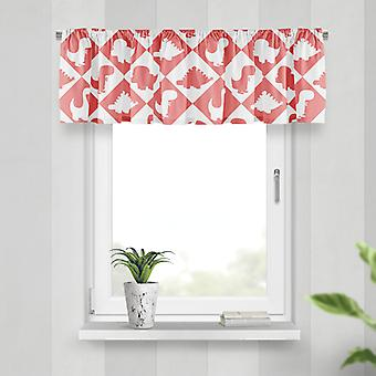Meesoz Valance - Dinosaurs Tiles Red