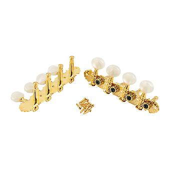WD Music Deluxe Mandolin Tuners In Gold Finish, Pearloid Buttons With Bushes And Screws