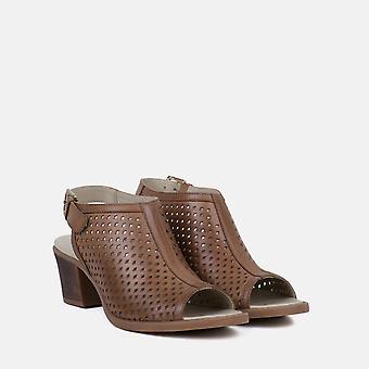 Milano tan leather peep toe sandal