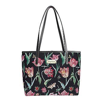 Marrel's tulip black shoulder tote bag by signare tapestry / coll-jmtbk