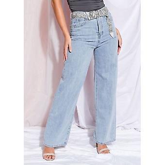Hög upphov bred ben denim jeans ljusblå