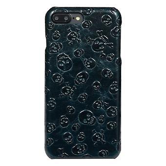 Para iPhone 8 PLUS,7 PLUS Case, Elegante Skulls Genuíno Cowhide Leather Cover, Verde