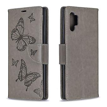 For Samsung Galaxy Note 10+ Case Grey Embossed Butterflies PU Leather Cover