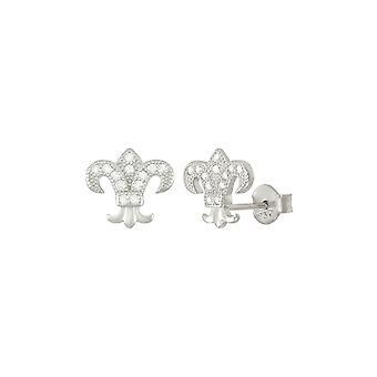 Ewige Sammlung Fleur De Lis klare Zirkonia Sterling Silber Gestüt Ohrstecker
