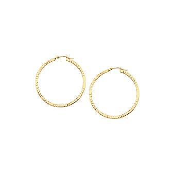 14k Geel goud 2x40mm Square Full Sparkle Cut Hoop Oorbellen Sieraden cadeaus voor vrouwen - 2,0 gram