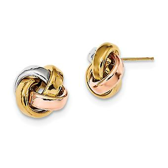 14k Yellow Gold With White and Rose Rhod Pol Love Knot Post Earrings Jewelry Gifts for Women
