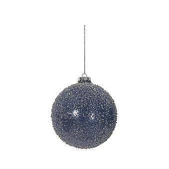 Ljus & Levande Jul Bauble Rund 10cm Ball Glass Mörkblå Glitter